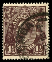 Lot 1100:1½d Black-Brown Die I - [1R13] White flaw above roo's foot