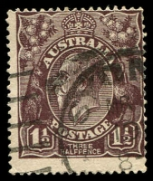 Lot 1101:1½d Black-Brown Die I - [1R24] small dot above A of AUST and cut in top frame above tip of right wattles.
