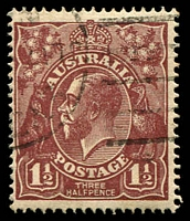 Lot 1260:1½d Brown Die I - BW #85(3)ea [3L8] White flaw in left border, opposite foot of kangaroo, and white flaw under H of HALFPENCE - state II - additional white flaw in left border, Cat $25.