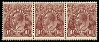 Lot 1196:1½d Brown Die I - [8L21-23] strip of 3, unit 21 seven small notches in right frame and unit 23 breaks in shading lines left of left wattle spray, MUH.