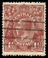 Lot 1488:1½d Red-Brown Die I - BW #87(13)h [13R27] White spot below L of AUSTRALIA, Cat $90. This was accidently left out of the catalogue.