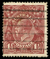 Lot 1486:1½d Red-Brown Die I - [13R53] White spot under emu's tail etc.