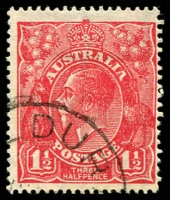 Lot 1910:1½d Red Die I - BW #89(21)ma [21R24] Two billed emu retouched, retouched again, Cat $18.