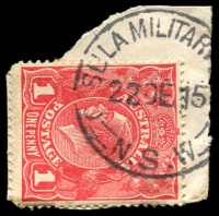 Lot 1216:Casula Military Camp: - 'C[A]SULA MILITAR[Y CAMP]/22DE15/=N.S.W=' (ERD?) on 1d red KGV.  PO c.-/12/1915; closed 10/3/1916.