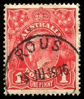 Lot 1072:Rous: 'ROUS/15JU1916/[N.S.W]' on 1d red KGV.  Renamed from Dalwood Richmond River PO 21/10/1882; TO 17/4/1950; closed 30/4/1952.