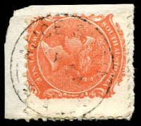 Lot 1114:Alice Springs: light framed 'ALICE SPRINGS/?Y24/??/S_A' on 2d orange DLR. [Rated 3R]  PO 1/1/1878.