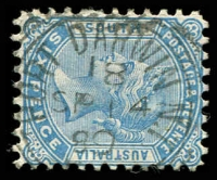 Lot 1124:Port Darwin: 23mm squared-circle 'PORT DARWIN N.T./18/SP14/89/S_A' on 6d blue.  Renamed from Palmerston PO c.1877; renamed Darwin PO 18/3/1911.