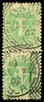 Lot 1126:Port Darwin: 2 strikes of 26mm squared-circle 'PT DARWIN/19/SE17/02/S_A' (arcs 5mm) on 4d green Postage Due pair.  Renamed from Palmerston PO c.1877; renamed Darwin PO 18/3/1911.