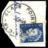 Lot 1276:Slade Point: 'SLADE POINT/6JY68/QLD-AUST' on 5c blue QEII.  PO 1/4/1946.