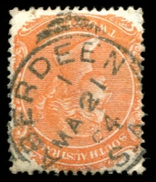 Lot 1307:Aberdeen: - 22mm squared-circle 'ABERDEEN/1/MA21/94/S_A' on 2d orange DLR.  PO c.1874; renamed Burra North PO 1/12/1939.