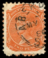 Lot 1306:Aberdeen: 23mm framed 'ABERD[EEN]/2/MY??/8?/S_[A]' on 2d orange DLR. [Rated 3R]  PO c.1874; renamed Burra North PO 1/12/1939.
