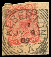 Lot 1308:Alberton: 26mm squared-circle 'ALBERTON/1/JY9/09/S.A' on 1d red DLR.  PO 1/1/1855.