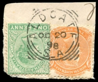 Lot 1310:Aldgate: - squared-circle 'ALDGATE/OC20/98/S_A' on 1d green & 2d orange DLR.  PO 1/2/1884.