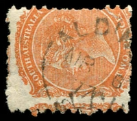 Lot 1311:Aldinga: unframed 'ALDIN[GA]/MR6/77/S.A' on 2d orange DLR, partly o/struck with a 2nd cancel. [Rated 3R]  PO c.1851; closed 4/4/1992.
