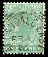 Lot 1316:Allandale East: - squared-circle 'ALLANDALE EAST/FE8/96/[S.A]' on 1d green DLR. [Rated R]  PO 27/4/1863; renamed Allendale East PO c.1937.
