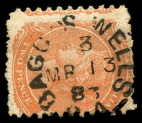 Lot 1330:Bagot's Well (2): - 21mm unframed 'BAGOT'S WELLS/3/MR13/83/S_A' on 2d orange DLR. [Rated R]  PO 1/4/1867; closed 28/2/1894.