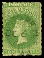 Lot 1347:Black Springs (2): - 21mm unframed '[BL]ACK SPRINGS/DE6/64/S_A' on 1d green PB. [Rated 3R]  PO c.1864; closed 12/5/1982.