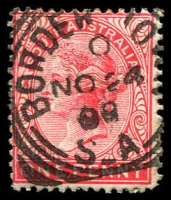 Lot 1660:Bordertown: - 24mm squared-circle 'BORDER TOWN/0/NO24/00/S_A' on 1d red.  PO 1/10/1865.