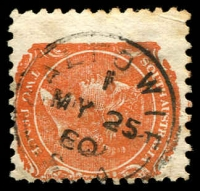 Lot 8311:Caltowie: - 22mm framed 'CALTOWIE/1/MY25/80/S_A' on 2d orange DLR (toned areas, mostly on reverse). [Rated 3R]  PO c.-/4/1873; closed 15/7/1988.