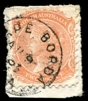 Lot 1384:Cape Borda: framed '[C]APE BORDA/AU9/83/[S].A' on 2d orange DLR. [Rated 2R]  TO 1/4/1877; closed 31/1/1966. [Kangaroo Island]