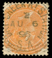 Lot 1428:Dry Creek Railway: - squared-circle 'DRY CREEK RY STATION/2/AU6/96/S_A' on 2d orange DLR.  PO 1/1/1884; renamed Dry Creek PO c.-/4/1910.