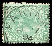 Lot 1445:Farina: 25mm squared-circle 'FARINA/FE17/94/[S_A]' on 1d green DLR. [Rated R]  PO 1/11/1878; closed 30/1/1960.