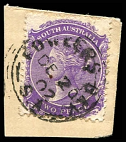 Lot 9337:Fowlers Bay: - framed 'FOWLERS BAY/DE20/02/S_A' on 2d violet DLR.  PO 1/5/1865; closed 18/9/1967.