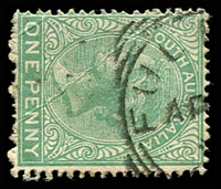 Lot 1456:Fulham: squared-circle 'FULH[AM]/AP??/??/[S_A]' on 1d green. [Rated 2R]  PO 1/1/1865.