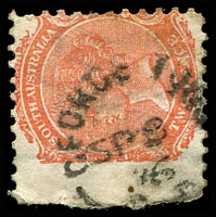 Lot 1464:Georgetown: 21mm unframed 'GEORGE TOWN/SP8/76/S_A' (sic - two words) on 2d orange DLR. [Rated 3R]  PO 1/9/1871.