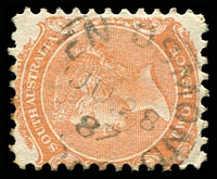Lot 8432:Glen Osmond: - 22mm framed '[G]LEN OSMOND/JU28/87/S_[A]' on 2d orange DLR. [Rated 2R]  PO 3/1/1850.
