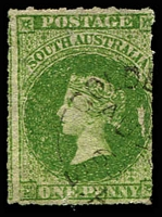 Lot 1475:Golden Grove: light unframed 'GOLDE[N GROVE]/AU2?/6?/S_A' on 1d green PB. [Rated 2R]  PO 5/11/1859; replaced by Greenwith PO 28/9/2000.