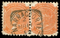 Lot 1666:Naracoorte: - 23mm squared-circle 'NARRACOORTE/2/MR11/92/[S_A]' (error 'RR') on 2d orange DLR pair.  Renamed from Mosquito Plains PO 1/10/1861.