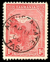 Lot 1782:Augusta Road: framed 'AUGUSTA-GATE/AP11/08/TAS:' on 1d Pictorial.  Renamed from Augusta Toll-Gate PO 16/3/1874; closed 30/11/1927.