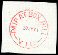 Lot 2278:Box Hill: - WWW #510F, 'PAID AT BOX HILL/28JY71/VIC' (time removed & date centred) in red.  PO 1/2/1861; replaced by Box Hill Business Centre BC c.-/10/1991.
