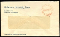 Lot 2309:Carlton: - WWW #610B 'PAID AT CARLTON/3½D-8AU57/VIC.' in red, WWW #610B (ERD), on window-faced Melbourne University Press cover, flap missing. [Rated 2R]  PO 19/10/1865; LPO 28/3/1994.