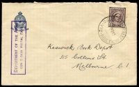 Lot 2619:Myrtleford Mil. P.O.: WWW #10 'MIL.P.O.MYRTLEFORD/13NO45/VIC-AUST' on 1d maroon QE on RSL War Service Fund (small logo) cover, violet rectangle 'DEPARTMENT OF THE ARMY/CONCESSION POSTAL RATE' handstamp on face, part of flap missing.  PO 10/4/1942; closed 16/2/1946.