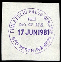 Lot 19047:Perth: - 33mm violet 'PHILATELIC SALES CENTRE/FIRST/DAY OF ISSUE/17JUN1981/GPO PERTH-WA-6000' on piece.  PO 4/5/1830.