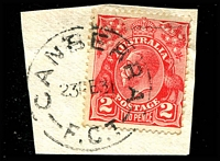 Lot 5538:Canberra (2): - 'CANBERRA/23FE31/F.C.T' on 2d red KGV.  Renamed from Acton PO 2/6/1913; renamed Queen Victoria Terrace PO 1/2/1983.