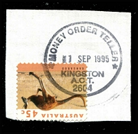 Lot 875:Kingston: '*MONEY ORDER TELLER*/11SEP1995/KINGSTON/A.C.T./2604' on 45c Roo.  Renamed from Canberra East PO 1/10/1944.