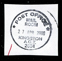 Lot 876:Kingston: 'POST OFFICE/MAIL/ROOM/27APR2000/KINGSTON/A.C.T./2604' on piece.  Renamed from Canberra East PO 1/10/1944.