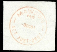 Lot 878:Mawson: 'MAWSON/PAID/3OC91/ACT AUST-2607' in red.  PO 3/3/1969.