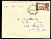 Lot 879:Parliament House: 'PARL'MT HOUSE CANBERRA/10SE58/A.C.T' on 4d Broken Hill on private FDC, addressed to West. Aust.  PO 19/9/1927.