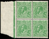 Lot 2291:½d Green - BW #65ac(7)d,e [7L43-44, 49-50] Thin Paper block of 4 with margin, unit 44 with SW corner broken and unit 49 with Retouched shading in oval and flaw on head, Cat $950+.
