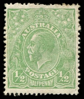 Lot 2289:½d Green - BW #63(4)v [4R55] White spot before 2 in right value tablet, Cat $75, couple of toned perf tips, crease.