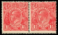 Lot 2786:1½d Red Die I - BW #90 horizontal pair, Cat $50.
