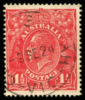 Lot 774:1½d Red Die I - [17L23] Flaw in upper white margin at right and break in shading line on King's neck - State II.