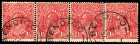 Lot 780:1½d Red Die I - [17R13-16] strip of 4 unit 15 with Small dot at end of emu's tail
