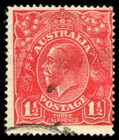 Lot 781:1½d Red Die I - [17R17] Stroke joining top of L of AUSTRALIA to outer oval