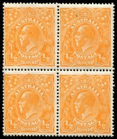 Lot 177:½d Orange - BW #66a Wmk Inverted, block of 4, Cat $100, one unit with tone spot, another unit with corner crease.