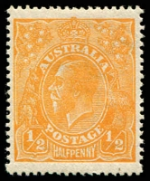 Lot 1116:½d Orange - BW #66 lower marginal example, Cat $8.